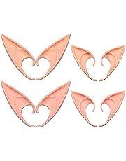 AniSqui Elf Oren Tip, 4 paar Latex Pixie Oren Volwassene, 12cm & 10cm Prothetische Oren, Puntige Oren Volwassene, Cosplay Accessoires voor Halloween Party Cosplay Accessoires