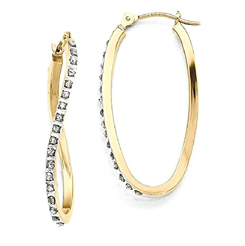 ICE CARATS 14k Yellow Gold Diamond Fascination Twist Hinged Hoop Earrings Ear Hoops Set Fine Jewelry Gift Set For Women Heart (Created Diamond Earings)