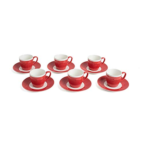 Yedi Houseware Classic Coffee &Tea Solid Espresso Cups & Saucers (Set of 6) by Yedi Houseware| 3.5oz Porcelain In Stylish, Pastel White/Red Colors Cravat Collection for an Authentic, Italian Café Feel