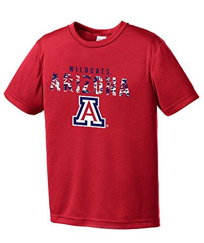 (NCAA Youth Boys Digital Camo Mascot Short Sleeve Polyester Competitor T-Shirt, Arizona Wildcats, Red - Youth Medium)