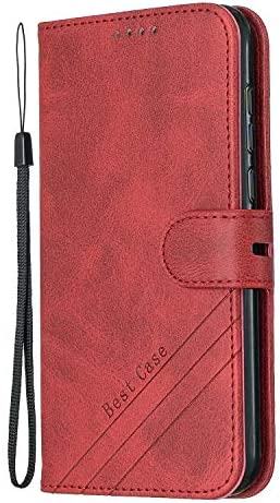 Shockproof Leather Flip Cover Case for Huawei Y5 2018//Honor 7S NEXCURIO Wallet Case for Huawei Y5 2018//Y5 Prime 2018 with Card Holder Side Pocket Kickstand NEHEX120376 Red