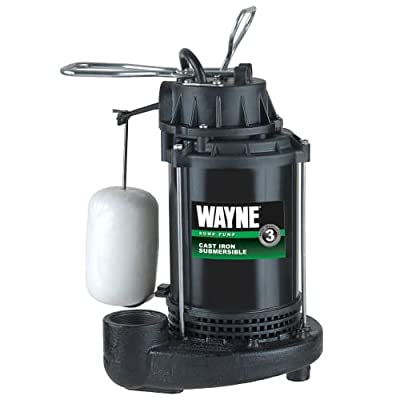 Wayne CDU 800 1/2 HP Cast Iron Submersible Sump Pump with Automatic Switch,