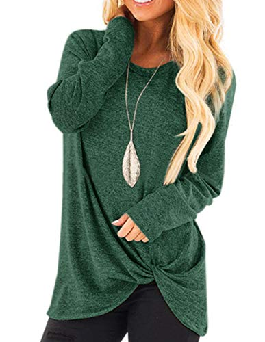 ZENUTA Long Sleeve Crew Neck Fall Tunic Tops for Women Solid Color Sweatshirt Dark Green
