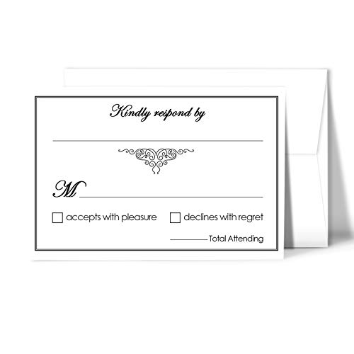 (RSVP Wedding Return Cards size 4 x 6 With A6 Envelopes - 50 Per Pack)