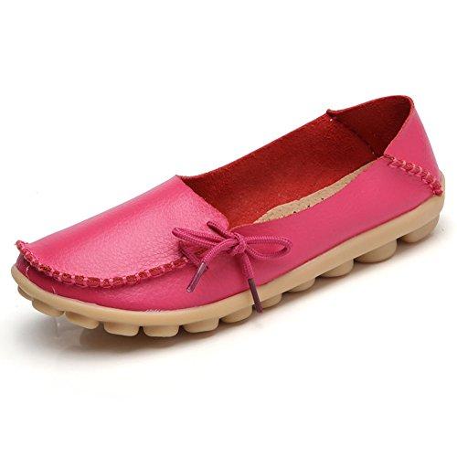 Damen Slipper Mokassins Bootsschuhe Casual Leder Loafers Schuhe Flache Fahren Halbschuhe Rosa