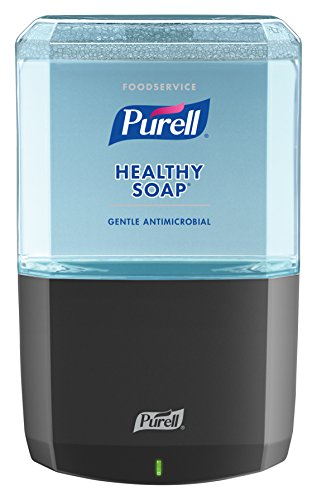 (PURELL Foodservice HEALTHY SOAP .5% BAK Antimicrobial Foam ES6 Starter Kit, 1 – 1200 mL Soap Refill + 1 - ES6 Graphite Touch-Free Dispenser - 6480-1G)