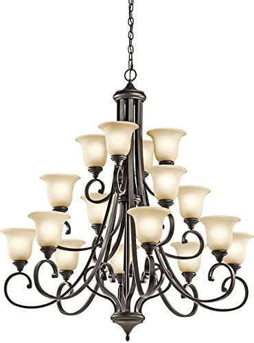 Kichler 43192OZ Multi-Tier Chandelier Lighting, Bronze 16-Light 45 W x 48 H 1200 Watts