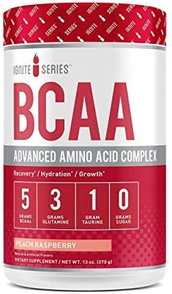 Complete Nutrition Ignite Series BCAA Advanced Amino Acid Complex, Peach Raspberry, Supports Muscle Recovery, Hydration Growth, 5g BCAA, 3g Glutamine, 13 oz Tub 30 Servings