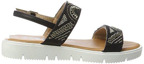 XTI Black Pu Ladies Sandals . - Sandalias con cuña Mujer Schwarz (Black)