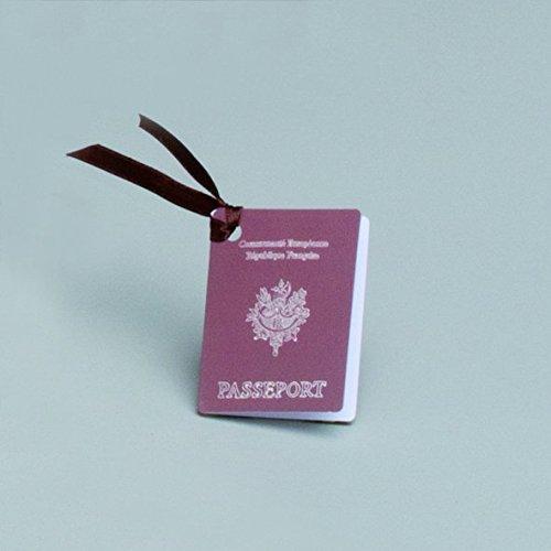 D& Y Lot DE 12 étiquettes Forme Passeport thème aventurier Voyage pour boites à dragées ballotins à dragées Mariage baptême Naissance Communion Y&D