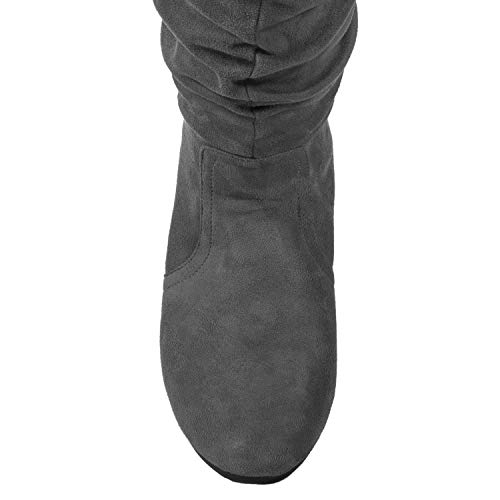 ROF Calf Slouchy Knee High Suede Boots Medium Soft Low Flat Grey Women's Heel To pArn0pqO