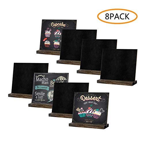 8 Pack Mini Chalkboard Signs, 5 X 6 Inch Vintage Wooden Tabletop Chalkboard Sign with Base Stand, Framed Message Small Chalkboard Sign for Party, Restaurant, Wedding, Bar Countertop and Home