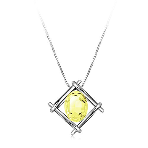 "IUHA Classic Bead ""Impression-Beauty Crystal"" Rhombus Shaped Pendant Necklace Synthetic Gem Chain Necklace (Jonquil)"