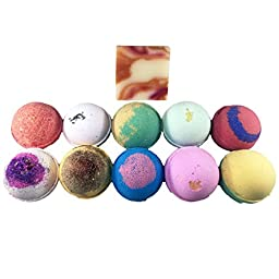 Amor Bath Bombs, Free Soap Bar Included, All Natural Essential Oil Lush Fizzies, Organic Shea Butter, Great for Dry Skin, Gift for Her or Him, Large, 10 Piece
