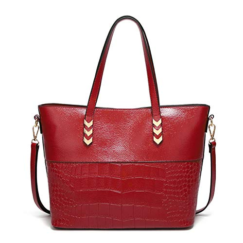Chibi-store Luxury Women Shoulder Bags Large Capacity Crocodile Pattern Ladies,Red,About 32x16x27.5cm ()