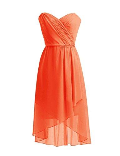 Orange Homecoming Sweetheart Dress Annie's Bridal Dresses Short Chiffon Women's Bridesmaid FUWWnqpa