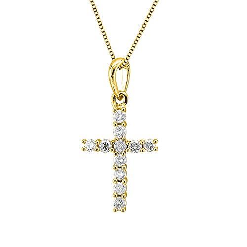 - 10K Yellow Gold Cross Diamond Necklace (1/5 Carat) - IGI Certified