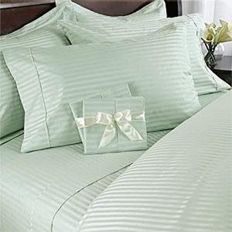 Egyptian Bedding 1200 Thread Count Queen Siberian Goose Down Comforter 8 PC Bed In A Bag Sage Damask Stripe