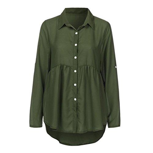 Winwintom De Décontractée Longue Soie Taille Revers Ol 2018 Haut Top Travail shirt Manche Mousseline nbsp; Solide Grande En Armée Vert T Dames pwpqSrA