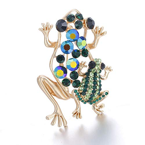 SKZKK Broaches and Pins for Women Crystal Frog Collar Pins Colorful Diamond Cartoon Green ()