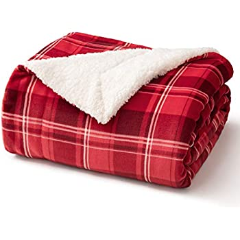 Bedsure Sherpa Fleece Plaid Blanket for Sofa, Couch and Bed - Soft & Cozy - Tartan Plaid Twin Blanket for Outdoor, Indoor, Camping, Gifts - Red, 60x80 inches