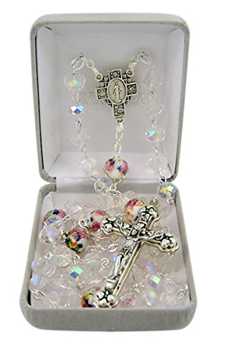 Catholic Flower Cut Clear Glass Prayer Bead Rosary Necklace with Heart Detailed Crucifix, 27 Inch