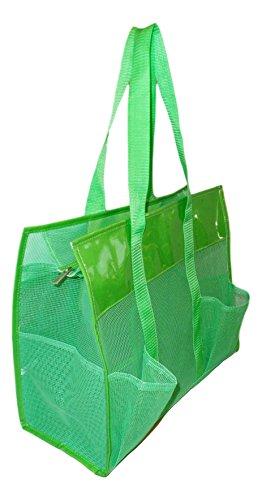 Mesh Shopper Utility Beach Bag Zipper Organizing Tote Bag  Green