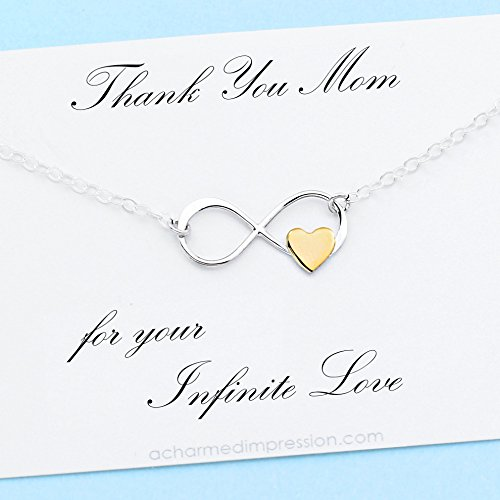 Mom Gift • Infinity Necklace with Tiny Gold Heart • Sterling Silver • Thank You for Your Infinite Love