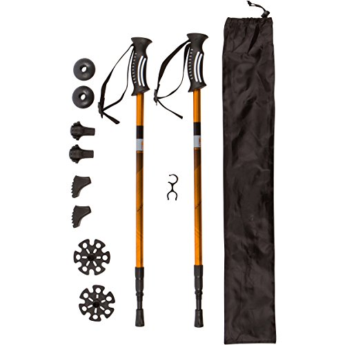 TREK PRO Hiking Poles - 1 Pair - Trekking / Walking / Climbing - 100% Tungsten Carbide Tips, Ultralight, Adjustable Height, Anti-Shock (Snowshoe Trek Aluminum)
