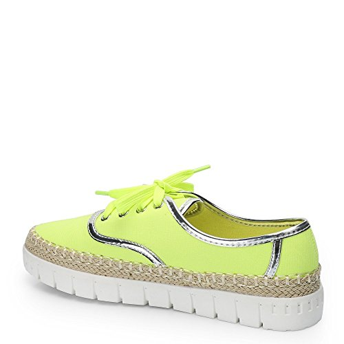 Candie suola Ideal in Espadrille con sneakers Style Giallo Shoes gomma qIAwC