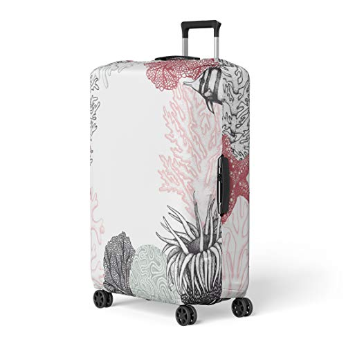 Pinbeam Luggage Cover Pastel Colored Corals Fish Stars Sketch Vintage Underwater Travel Suitcase Cover Protector Baggage Case Fits 26-28 inches (Polyp Coral Star)