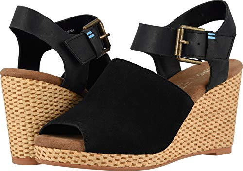 - TOMS Women's Tropez Sandal Black Suede/Leather 6.5 M