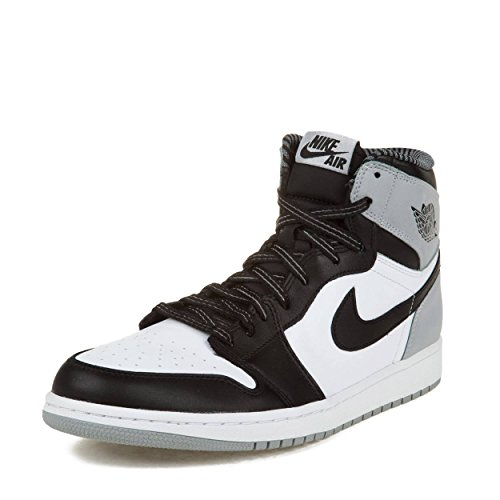 9d63365a1be NIKE Mens Air Jordan 1 Retro High OG Barons White/Black-Wolf Grey Leather  Basketball Shoes Size 12