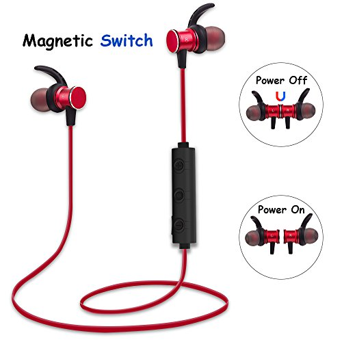 Magnetic Bluetooth Earbuds, AURTEC Lightweight Wireless Headphones with Magnetic Switch Design, Build-In Mic, Waterproof & Sweatproof, 10 Hours Play Time, Noise Canceling For Sports Gym (Lightweight Bluetooth)