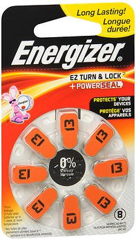 Energizer EZ Turn & Lock Hearing Aid Batteries Size 13 - 8 ct, Pack of 4 (Eveready Hearing Aid Batteries)