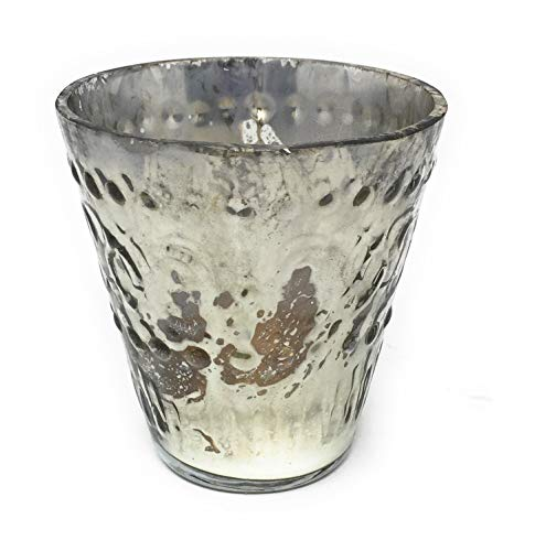 Serene Spaces Living Silver Votive Holders, Vintage Embellished Style, Measures 3'' Tall 3'' Diameter, Set of 6 by Serene Spaces Living