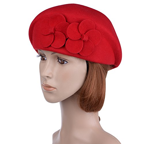 Vbiger Women's Beret Beanie Warm Cap Hat (Red)