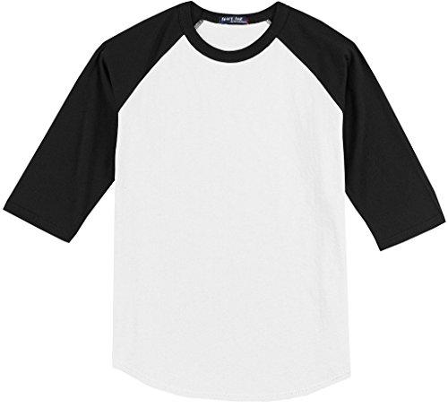 - Sport-Tek Big Men's 3/4 Sleeve Raglan Baseball T-Shirt 6XL White/Black #590D