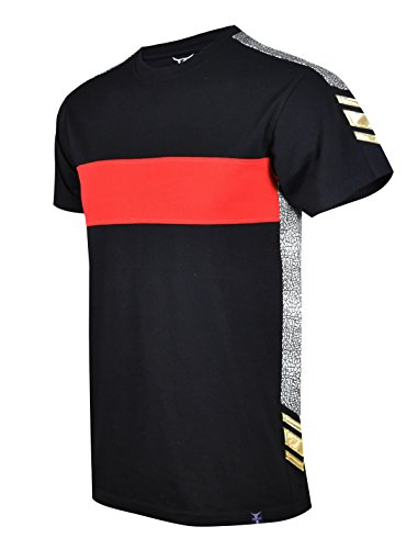 SCREENSHOTBRAND-S11842 Mens Hipster Hip-Hop Premium Tees - New York Latest Fashion Taped Color Block Shirt - Black - Small