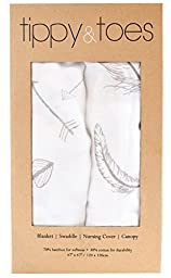 Softest Muslin Swaddle Baby Blankets - 70% Bamboo 30% Cotton 2 Pack \