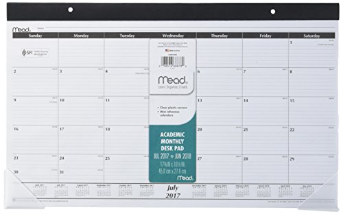 Mead Academic Desk Pad Calendar, July 2017 - June 2018, 17-3/4' x 10-7/8', Compact, Monthly (CAM10400)