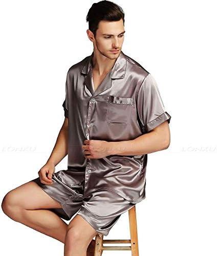パジャマ CHJMJP 男性のためのメンズシルクサテンパジャマパジャマPJS短く設定パジャマ部屋着睡眠スーツ (Color : 白, Size : XXL)