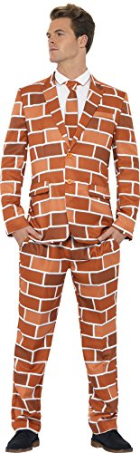 Off The Wall Halloween Costumes (Smiffy's Men's Off The Wall Suit with Jacket Trousers and Tie, Orange, Medium)