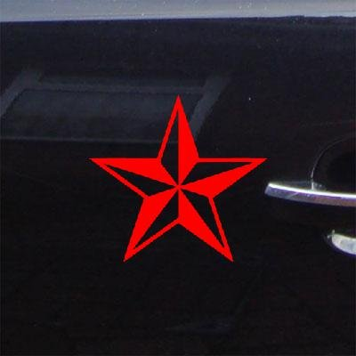 (reprowiwi MacBook Car Laptop Notebook Adhesive Vinyl Decoration Wall Art Home Decor Nautical Star Sticker Decal Auto, Red)