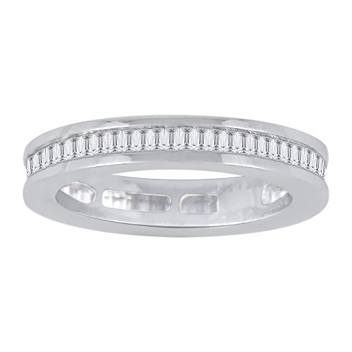 Baguette Cut Diamond Eternity Wedding Band in Sterling Silver (3/4 cttw)(Color-JK, Clarity-I2/I3) (Size-6.5) by KATARINA