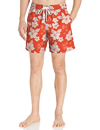 Amazon Essentials Herren Badehose 17,8 cm, Orange Hibiscus Print, US XL (EU XL - XXL)
