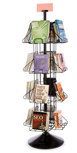 "Black Wire Revolving Bookcase for Floor, (16) 9"" x 12"" Pockets, Sign Clip – 69"" Tall (Book Table Revolving)"