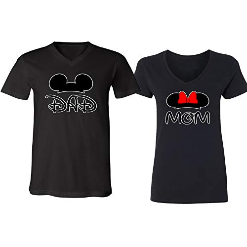 Disney Mickey Dad Minnie Mouse Mom Family Couple Design V-Neck Shirt for Men -