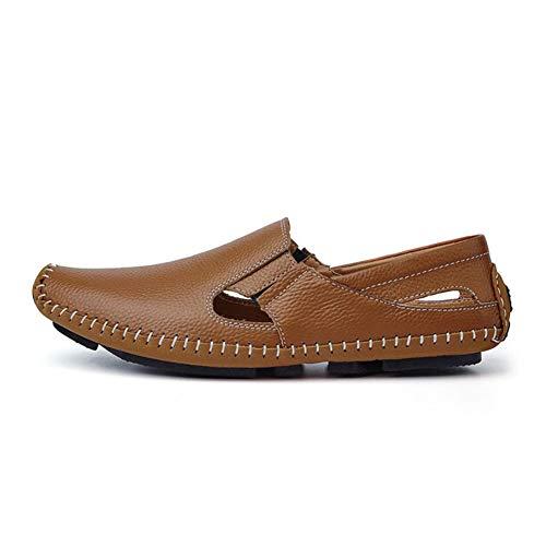 Orificios de Respirables para Zapatos de nuevos para Casuales Conducir Confort y Hombres Verano Sandalias Mocasines Zapatos de Zapatos Holgados on Zapatos Slip Cuero Huecos con gqUIWZOOaw