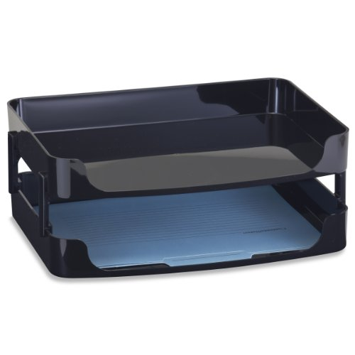 Officemate 2200 Series Executive Side Load Letter/A4 Tray with Desk Supports, Black, 2 Pack (22206) ()
